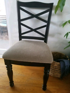 Dining Chairs - Black Wood w Biege Fabric (Set of 4)