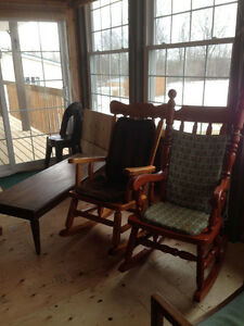 Solid pine rocking chairs and hard wood coffee table