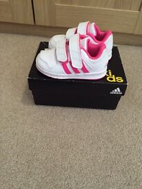 Infant girls pink adidas trainers