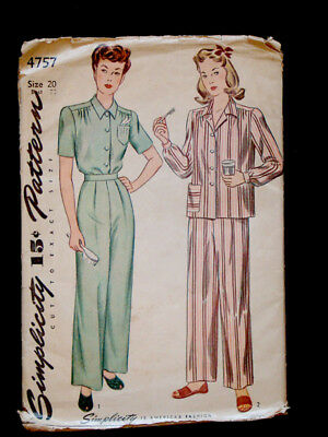 1940's Vintage SIMPLICITY 4757 2-pc WOMENS PAJAMAS Fashion DRESS PATTERN / Sz20