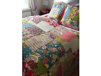 Quilted bedspread handmade and two cushion covers