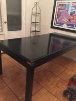 Solid maple – black lacquered. Sturdy dining table.