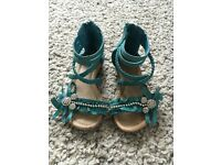 Turquoise leather sandals girls size 7 infant