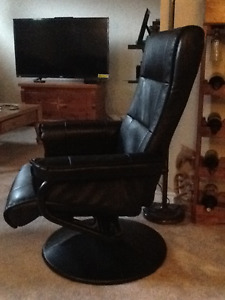 Leather swivel/reclining chair with stool