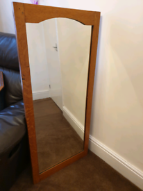 Large Vintage Mirror with Wooden Frame