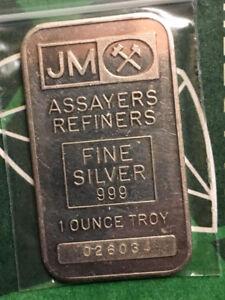 Johnson Matthey 1 oz Fine Silver Vintage Bar - Blank Back