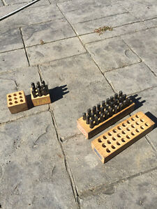 number and letter punch sets in wooden case great shape