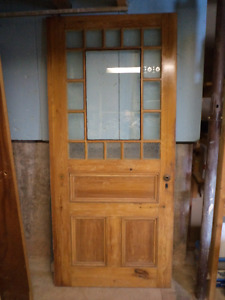 Lovely old door - pine with glass inserts,