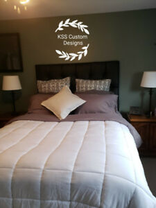Queen/double Handcrafted Tuffted headboard and wooden bed frame