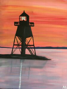 Acrylic painting - Grand Marais lighthouse