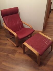 Red lounger and footstool
