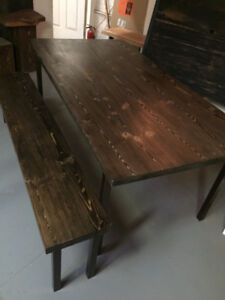 Reclaimed dining table and bench