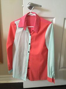 Women pink mint blouse shirt work top