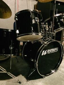 Gloss Black Westbury Drum Kit! Exceptional Shape.