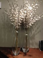 Set of two Tall clear vases