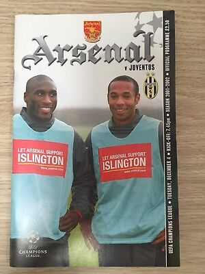 Arsenal Vs Juventus Football Programme UEFA Champions League December 4th 2001-2