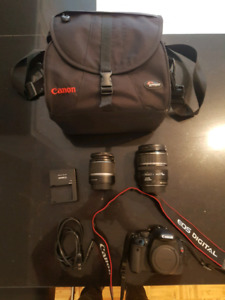 Canon T2i rebel - 2 lens + sac de transport 450$