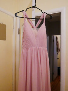 Blush pink chiffon prom dress or bridesmaid dress, small size