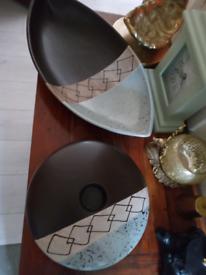 Large long bowl and candle holder set.