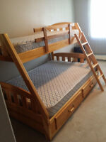 TWIN/DOUBLE BUNK BED with MATTRESSES