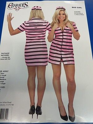 Bad Girl Prisoner Pink Black Striped Fancy Dress Up Halloween Adult Costume - Girl Prisoner Costume