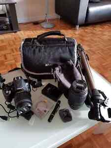 Nikon DSLR D5200 with 2 lenses and tripod and more