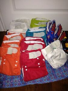 Cloth diapers. All in one. Sizeable with snaps up to 35 pounds.