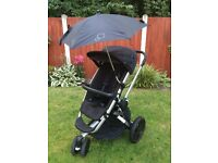 Quinny Buzz,Car seat,isofix base,2 footmuffs,Bag parasol and raincover.Very good condition