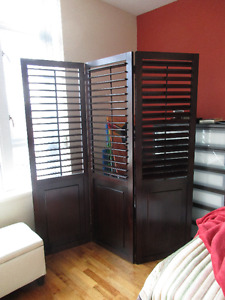 Folding All Wood Louvered Screen...What a Bargain!