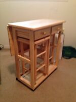 Kitchen cart with two stools