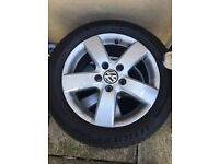 "Vw golf alloys 16"" good tyres vw/audi/seat/skoda"