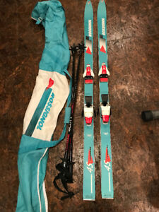 Kids Rossignol skis, Scott Poles, Rossignol Bag