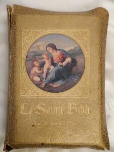 """Tres Rare Antique """"La Sainte Bible Tout à Jésus par Marie"""" 1955"""