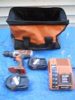 RIGID 18v DRILL,CHARGER, 2 BATTERIES, & BAG