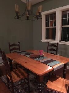 Custom Wood Dining Room Table and 4 Chairs