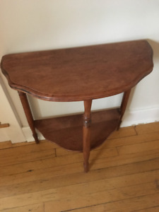 2 Half Moon shaped wooden side tables