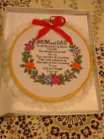 Brand new in box decorative mom and dad saying lace