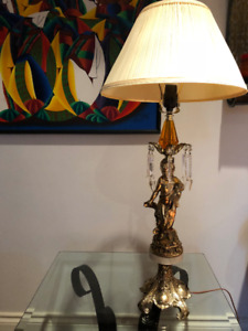 VINTAGE Table Lamp - Brass, Marble, & Crystals