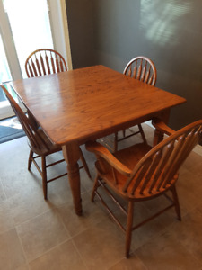 Solid Oak Harvest Table and Chairs $120.00 sold as set