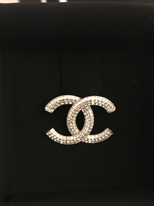 Authentic Chanel CC Brooch - Silver with Baguette Crystals