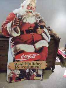 Coca Cola Cardboard Cutout Santa Claus Stand Up Advertising