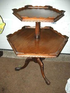 antique two tiered mahogany table pie crust top REDUCED