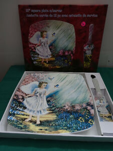 "12"" square plate and server (photo of an Angel)  NEW"