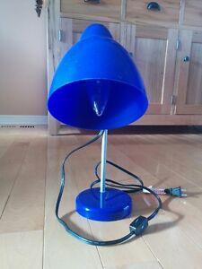 Blue desk lamp.