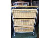 Chrome & wicker bedside drawers vgc