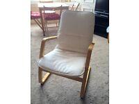 IKEA chair - birch veneer with cream fabric