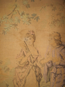 Antique Tapestry of Victorian Couple 30X25