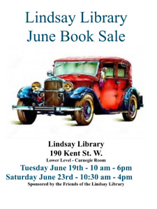 Lindsay Library Book Sale Saturday June 23rd