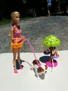 Barbie with walking dog, swing and puppies
