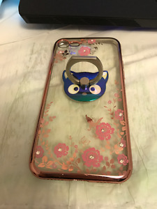 Iphone 7  case with black kitty  ring grip